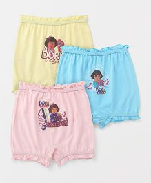 Dora Printed Bloomers Pack Of 3 - Peach Blue Yellow