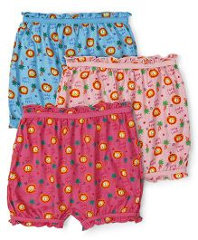 Red Rose Bloomers Cute Lion Print Pack Of 3 - Pink Blue