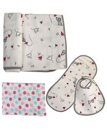 Kadam Baby Blanket, Swaddle, Bib & Burp Cloth Gift Set - Multi Color