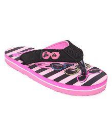 Barbie Printed Flip Flops  - Pink & Black