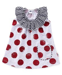 Teddy Sleeveless Dotted Frock With Pocket - Grey Red Black