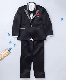 Prinz Suit With Contrast Shirt Pant & Bow - Black