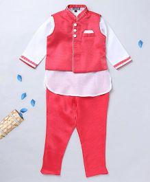 Prinz Solid Jacket Churidar With Contrast Kurta & Pocket Square - Red