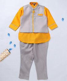 Prinz Solid Jacket Churidar With Contrast Kurta & Pocket Line - Yellow