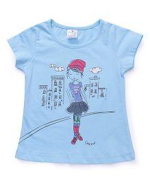 Smarty Half Sleeves Tee Girl Print - Sky Blue