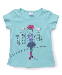 Smarty Half Sleeves Tee Girl Print - Green