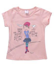 Smarty Half Sleeves Tee Girl Print - Peach