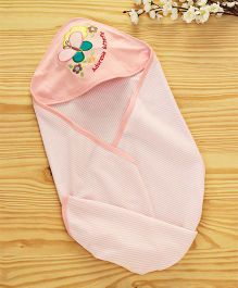 Babyhug Striped Hosiery Hooded Wrapper Butterfly Embroidered - Peach