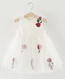 Pre Order - Awabox Rose Print Dress - White