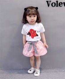 Pre Order - Awabox Rose Print Tee & Shorts - White & Pink