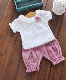 Pre Order - Awabox Rose Applique Tee & Pants - Pink