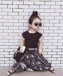 Pre Order - Awabox Basic Tee & Printed Harem Pants - Black