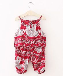 Pre Order - Awabox Elephant Print Singlet Top & Pants - Red