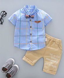 Pre Order - Awabox Checkered Shirt With A Bow & Pants - Aqua Blue