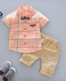 Pre Order - Awabox Checkered Shirt With A Bow & Pants - Peach