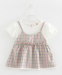 Pre Order - Awabox Checkered Singlet Dress With Inner - Pink