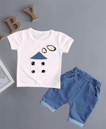 Pre Order - Awabox House Print Tee & Shorts Set - Blue & White