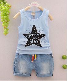 Pre Order - Awabox Star Print Tee & Shorts - Blue