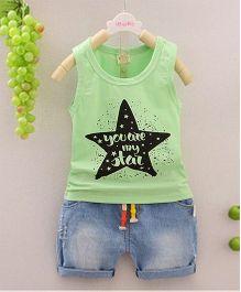 Pre Order - Awabox Star Print Tee & Shorts - Green