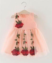 Pre Order - Awabox Rose Print Dress - Peach