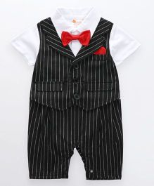 Pre Order - Dells World Jacket Attached Stripped Jacket With A Bow - Black & White