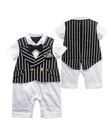 Pre Order - Dells World Stripped Jacket Attached Romper With A Romper - Black & White