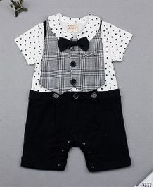 Pre Order - Dells World Heart Print Romper With With Gallis And A Jacket - Black & White