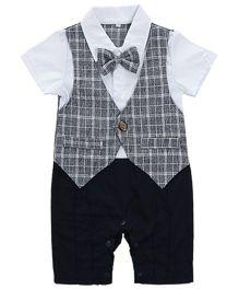 Pre Order - Dells World Checkered Print Formal Romper With A Bow - Black & White