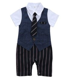 Pre Order - Dells World Jacket Attached Party Wear Romper With A Tie - White & Blue