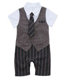 Pre Order - Dells World Jacket Attached Party Wear Romper With A Tie - White & Grey