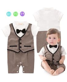 Pre Order - Dells World Jacket Attached Romper With A Bow - White & Brown