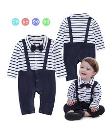 Pre Order - Dells World Gallis Attached Stripped Romper With A Bow - White & Blue