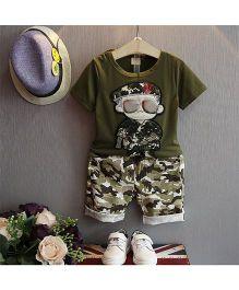Teddy Guppies Half Sleeves Tee & Turn Up Shorts - Green Black