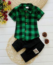 Lil Mantra Checkered Shirt And Bottom Set - Green