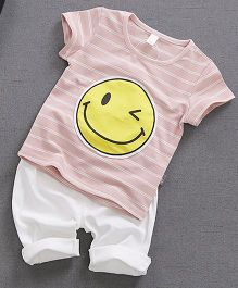 Lil Mantra Smiley Print Tee And Bottom Set - Pink