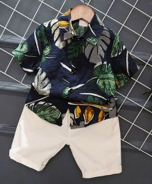 Pre Order - Lil Mantra Hawaii Style Shirt And Pant Set - Navy Blue
