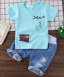 Pre Order - Lil Mantra Star Printed Tee & Denim Set - Blue