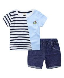 Pre Order - Lil Mantra Partly Striped Tee And Denim Bottom Set - Blue