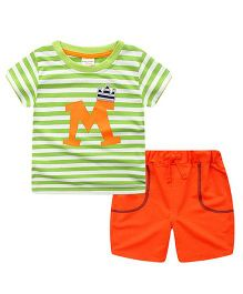 Pre Order - Lil Mantra Striped Tee & Shorts Set - Green And Orange