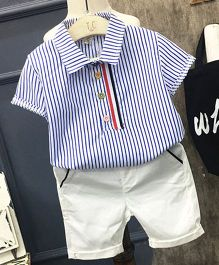 Pre Order - Lil Mantra Striped Collared Shirt & Shorts - Blue & Cream