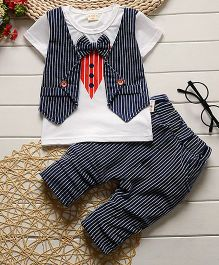 Pre Order - Lil Mantra Tie Print Tee And Striped Bottom Set - Navy Blue