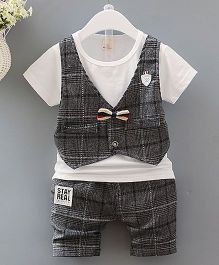 Pre Order - Lil Mantra Tartan Print Tee & Shorts Set With Bow - Grey