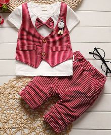 Pre Order - Lil Mantra Striped Tee & Shorts Set With Bow And Clock Print Badge - Red