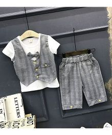 Pre Order - Lil Mantra Checkered Tee & Shorts Set With Bow - Grey