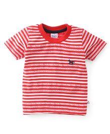 Simply Half Sleeves Tee Stripe Design - Red