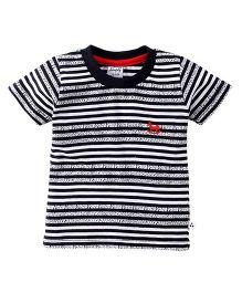 Simply Half Sleeves Striped T-Shirt - Navy