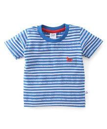 Simply Half Sleeves Tee Stripe Design - Blue
