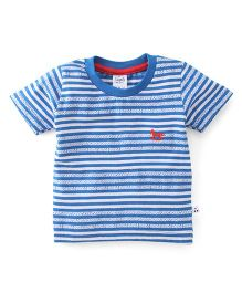 Simply Half Sleeves Tee Stripe Design - Blue