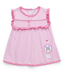 Simply Sleeveless Round Neck Dotted Frock - Light Pink