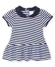 Simply Half Sleeves Frock Stripe Design - Navy